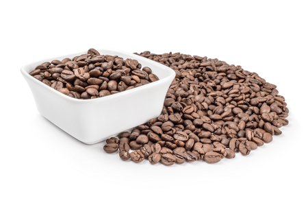 Coffee grains isolated on a white background cutout