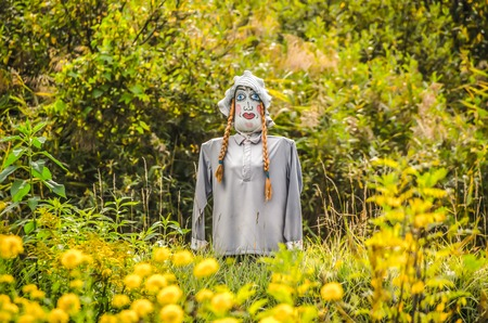 funny scarecrow with a nice smile and cute pigtails in the summer garden. Stock Photo