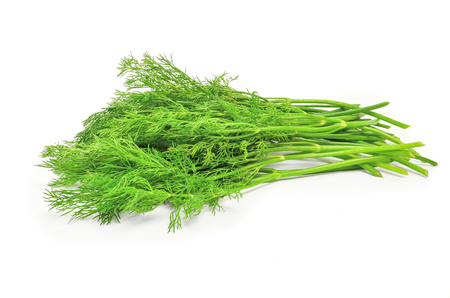 potherb: Fresh branches of green dill isolated on white .