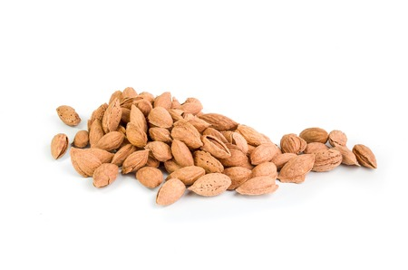 Almond nuts isolated on a white background Stock Photo