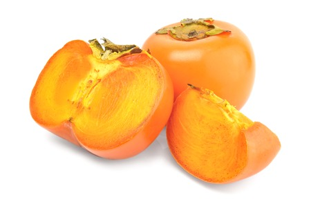 Persimmon fruit  slices isolated on white background cutout