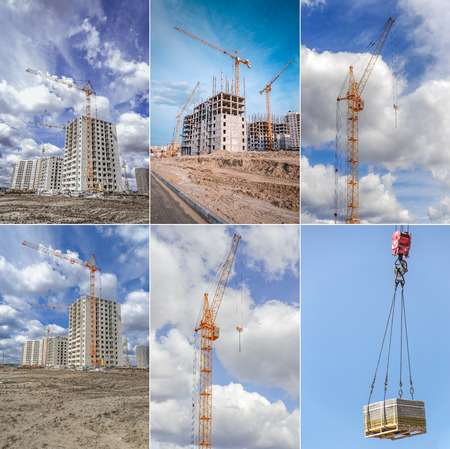 buildingsite: Hoisting crane and new multistorey housing. Collage.