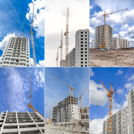 Lifting crane and new multistorey building. Collage. Stock Photo