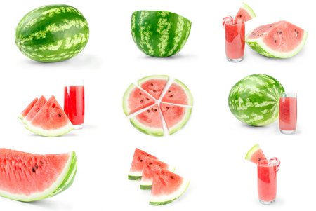 sweet segments: Group of Sweet watermelon on a white background cutout Stock Photo