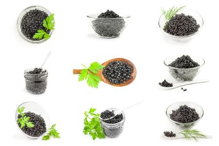 Set van zwarte kaviaar geïsoleerd op een witte achtergrond Stockfoto