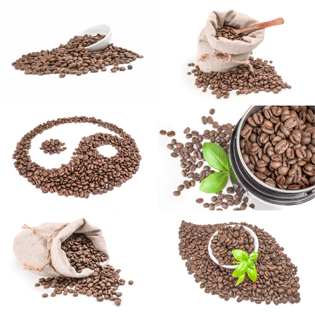 Collection of brown coffee on a white background