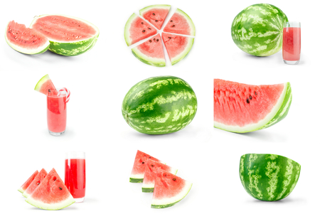 Group of Green watermelon isolated on a white background cutout