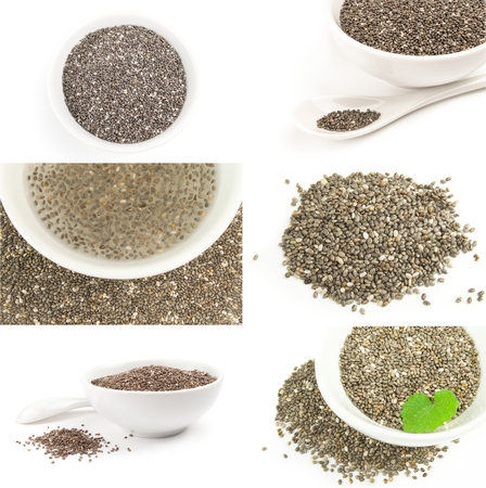 Collage of chia seeds on a white background cutout