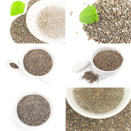 Group of healthy chia seeds