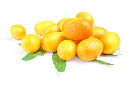 Bunch of kumquat (cumquat) with leaves isolated on white background cutout.