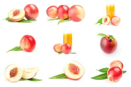 Group of juicy ripe peaches isolated on a white background with clipping path Stock Photo