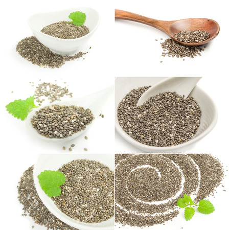 Collage of nutritious chia seeds isolated over a white background