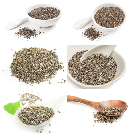 Collection of chia seeds on a white background clipping path Stock Photo