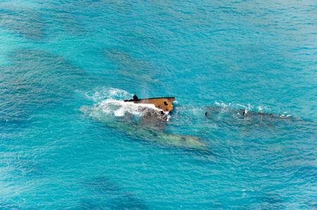 Shipwreck in the Carribean sea.