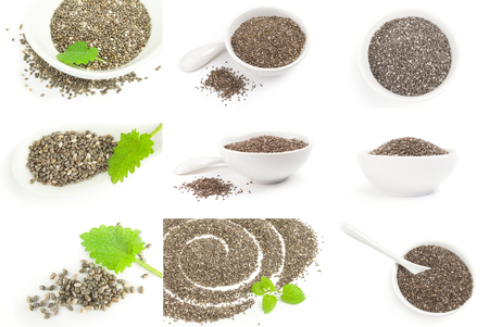Set of organic dry chia seeds over a white background