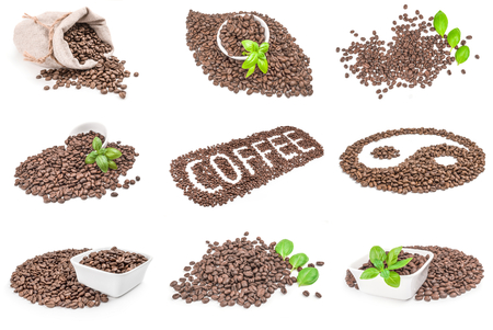 cafe colombiano: Collage of closeup of coffee beans isolated over a white background Foto de archivo