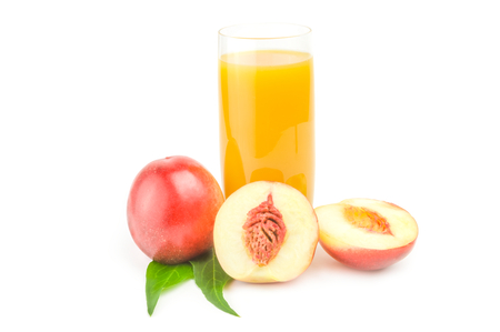 Juicy ripe peaches on a white background. Clipping path