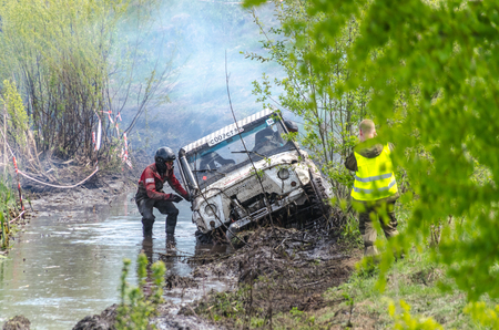SALOVKA, RUSSIA - MAY 5, 2017: Races off-road on SUVs at the annual competition