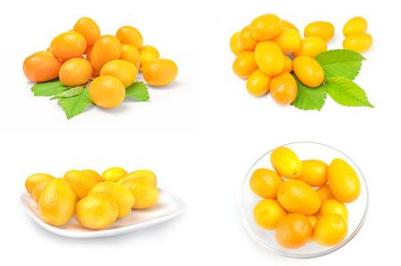 Set of kumquats over a white background