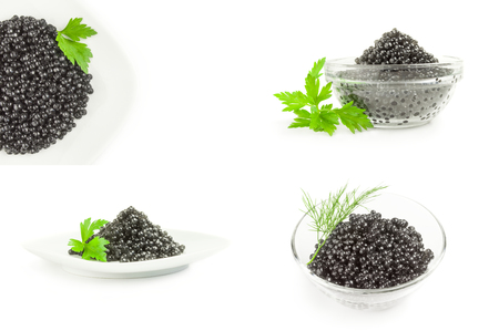 Collection of black roe isolated on a white cutout