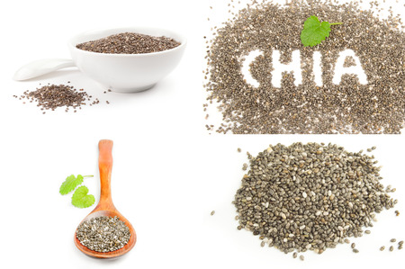 Collection of chia seeds close-up on white