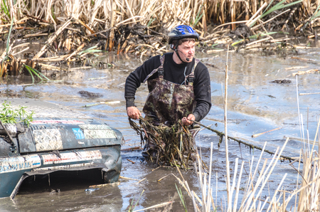 SALOVKA, RUSSIA - MAY 5, 2017: Off-road racing on all-wheel drive cars at the annual competition