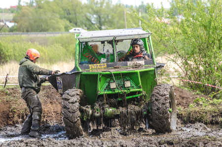 SALOVKA, RUSSIA - MAY 5, 2017: Annual race on modified jeeps on impassability at the annual car racing