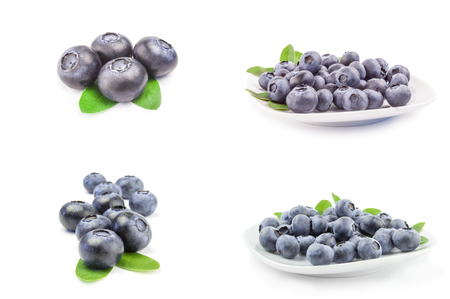 Collection of fresh blueberry isolated on a white background cutout