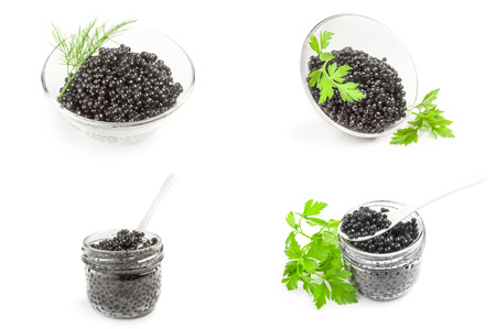 Collage of black beluga caviar on a white background cutout
