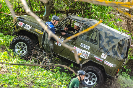 SALOVKA, RUSSIA - MAY 5, 2017: Vehicle mud race at the annual competition Trofi rubezh 2017