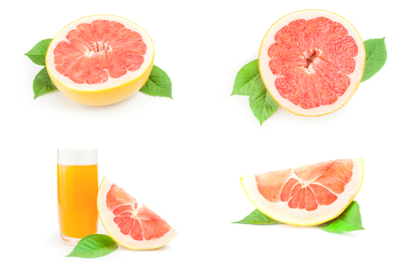 Group of citrus grandis close-up isolated on white background