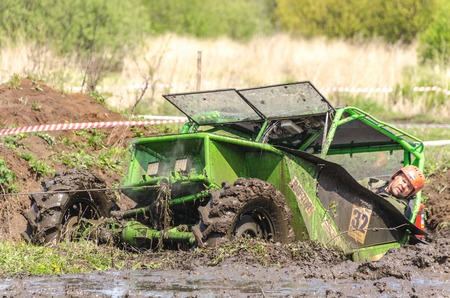 SALOVKA, RUSSIA - MAY 5, 2017: 4 X 4 championship in rough terrain at the annual car racing Trophy rubezh 2017