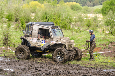SALOVKA, RUSSIA - MAY 5, 2017: Annual race on SUVs on impassability at the annual competition