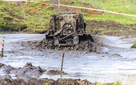 SALOVKA, RUSSIA - MAY 5, 2017: Offroad 4wd race  at the annual car racing Trophy rubezh 2017
