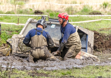 SALOVKA, RUSSIA - MAY 5, 2017: Off-road racing on SUVs cars at the annual competition Trofi rubezh 2017.