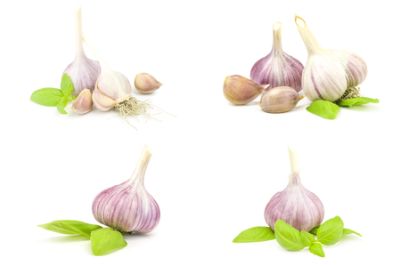 Collage of Garlic clove isolated on a white background cutout