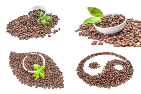 Set of closeup of coffee beans isolated over a white background