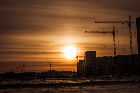 Tower cranes and building of new apartments Reklamní fotografie