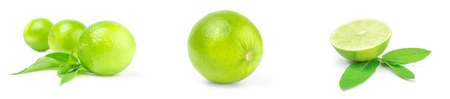 Collection of limes on a white background