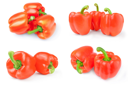 Set of red sweet peppers on a white background cutout