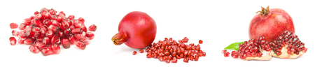 Set of pomegranates on a white background
