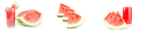 Collage of Watermelon isolated on a white background