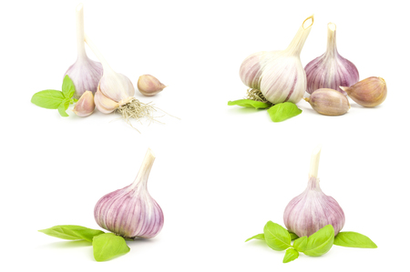 Set of Garlic clove isolated on a white background cutout Reklamní fotografie