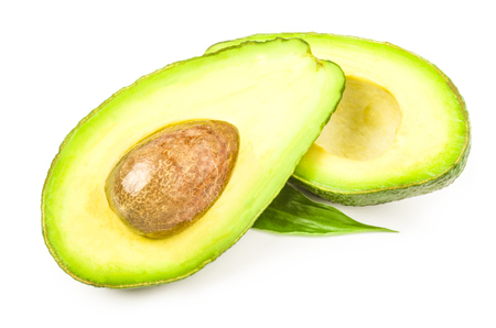Green avocado isolated on a white background cutout
