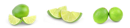 Set of limes isolated on a white background cutout