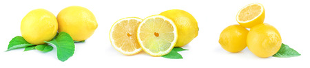 Collage of lemons isolated on a white background cutout