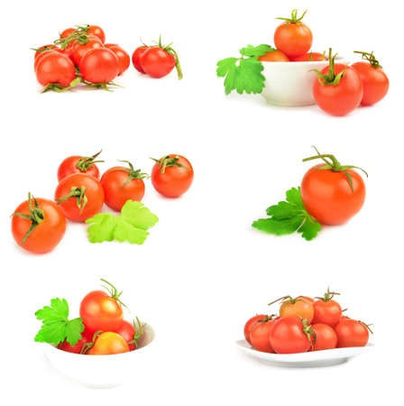 Group of tomatoes on a white background cutout