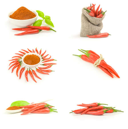 Collage of long fed pepper over a white background Reklamní fotografie