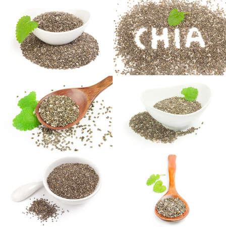 Set of nutritious chia seeds isolated on white