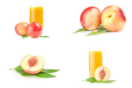 Collage of isolated peaches on a background Reklamní fotografie